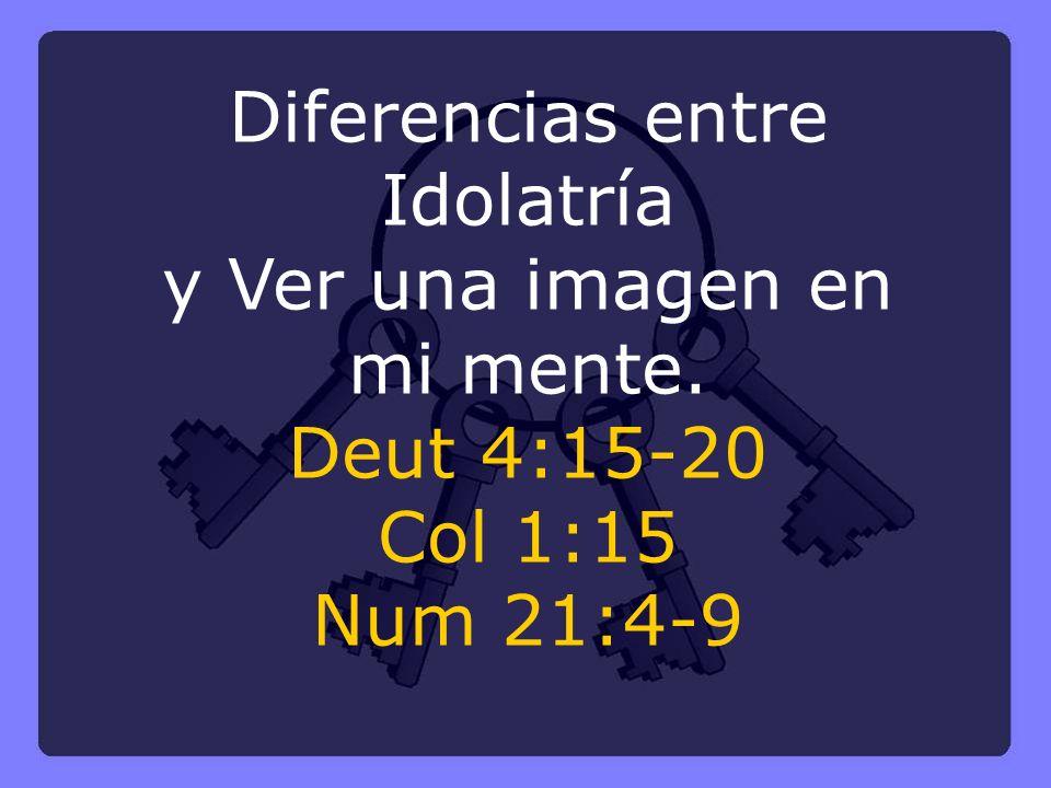 Diferencias entre Idolatría y Ver una imagen en mi mente. Deut 4:15-20 Col 1:15 Num 21:4-9
