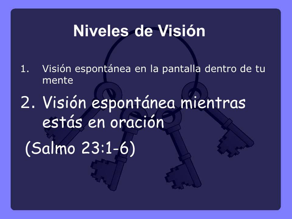 1.Visión espontánea en la pantalla dentro de tu mente 2. Visión espontánea mientras estás en oración (Salmo 23:1-6) Niveles de Visión