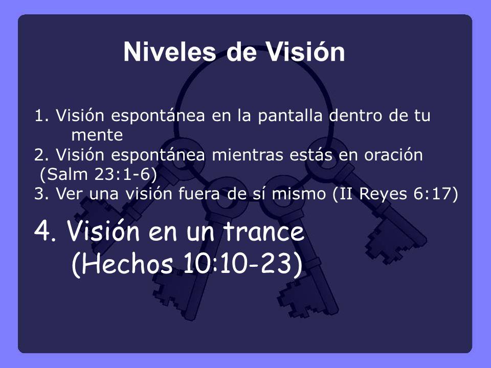 1. Visión espontánea en la pantalla dentro de tu mente 2. Visión espontánea mientras estás en oración (Salm 23:1-6) 3. Ver una visión fuera de sí mism