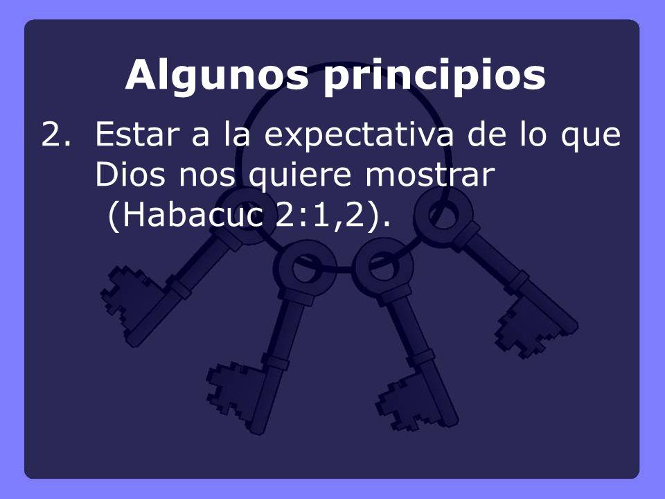 Algunos principios 2.Estar a la expectativa de lo que Dios nos quiere mostrar (Habacuc 2:1,2).