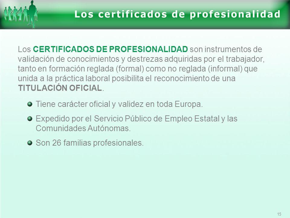 15 Los CERTIFICADOS DE PROFESIONALIDAD son instrumentos de validación de conocimientos y destrezas adquiridas por el trabajador, tanto en formación re