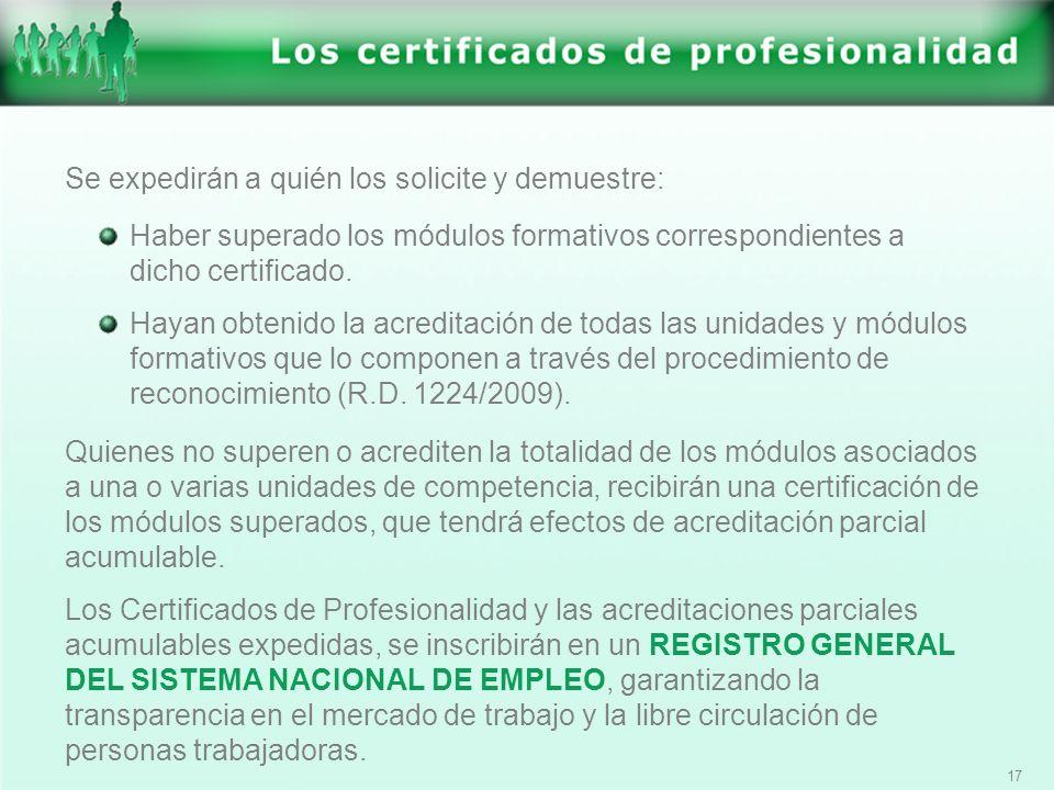 17 Se expedirán a quién los solicite y demuestre: Haber superado los módulos formativos correspondientes a dicho certificado. Hayan obtenido la acredi