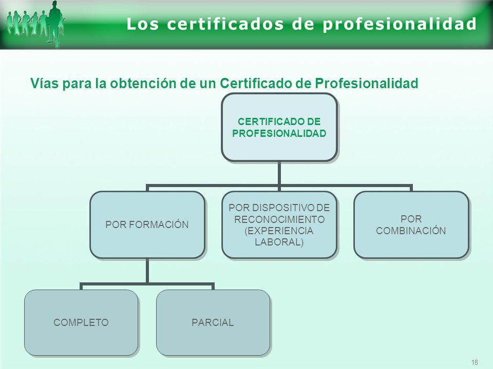 18 Vías para la obtención de un Certificado de Profesionalidad CERTIFICADO DE PROFESIONALIDAD POR FORMACIÓN COMPLETOPARCIAL POR DISPOSITIVO DE RECONOC