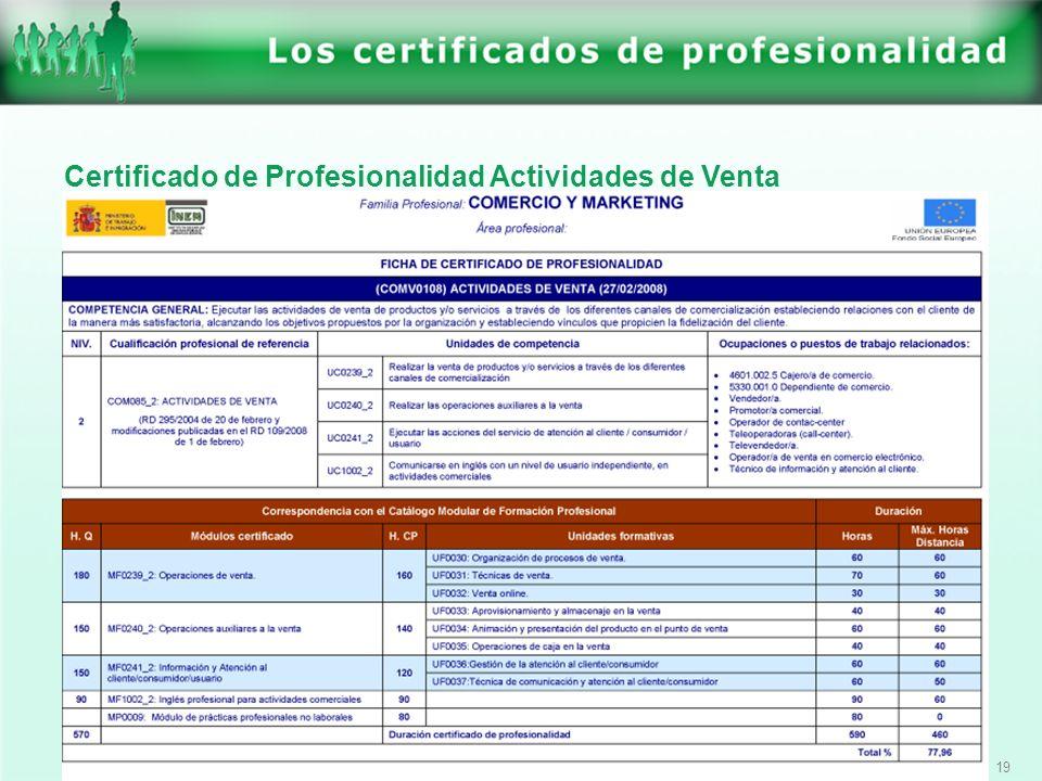 19 Certificado de Profesionalidad Actividades de Venta
