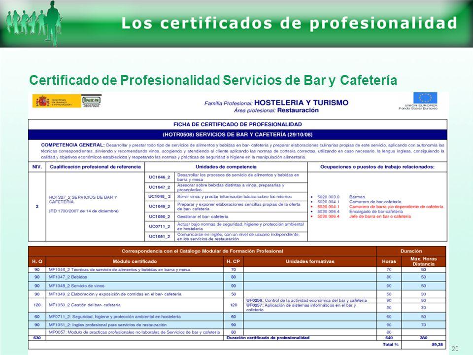 20 Certificado de Profesionalidad Servicios de Bar y Cafetería