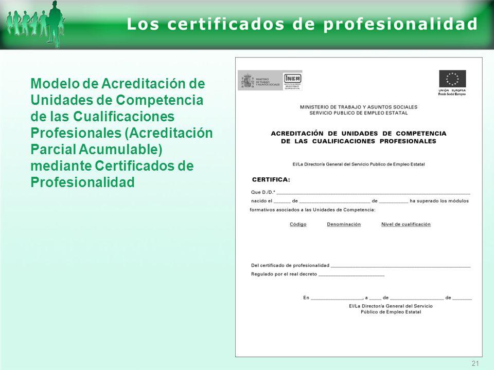 21 Modelo de Acreditación de Unidades de Competencia de las Cualificaciones Profesionales (Acreditación Parcial Acumulable) mediante Certificados de P