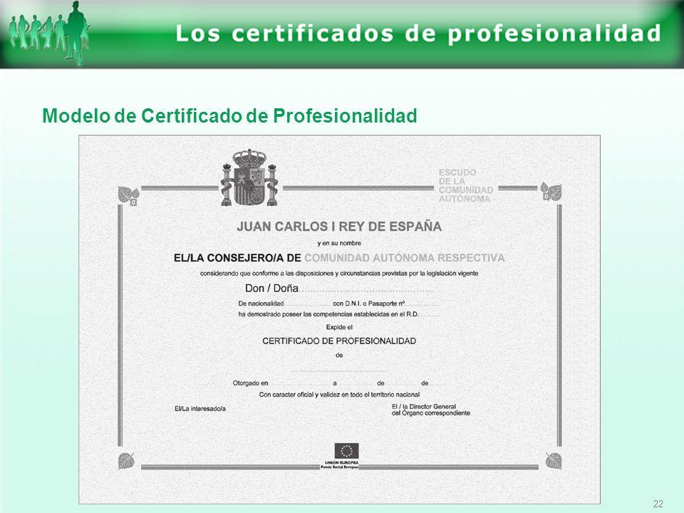 22 Modelo de Certificado de Profesionalidad