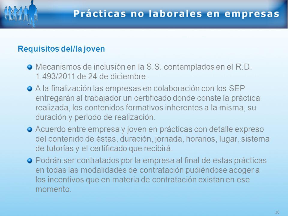 30 Requisitos del/la joven Mecanismos de inclusión en la S.S. contemplados en el R.D. 1.493/2011 de 24 de diciembre. A la finalización las empresas en