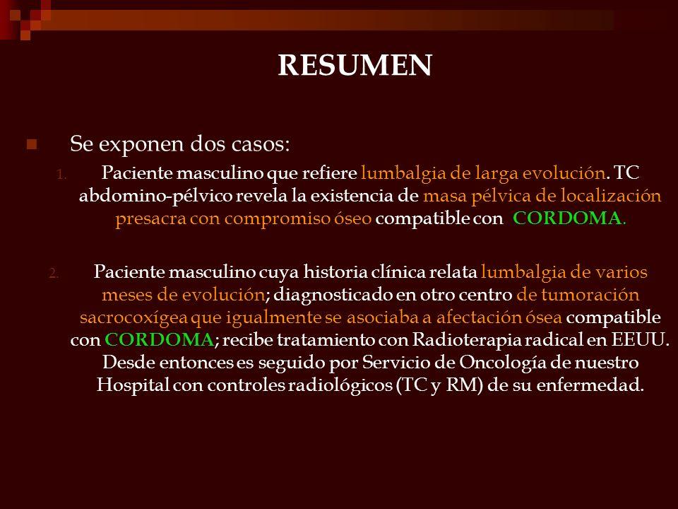 RESUMEN Se exponen dos casos: 1. Paciente masculino que refiere lumbalgia de larga evolución. TC abdomino-pélvico revela la existencia de masa pélvica