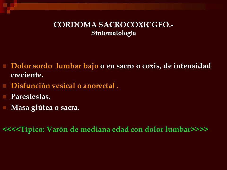 CORDOMA SACROCOXICGEO.- Sintomatología Dolor sordo lumbar bajo o en sacro o coxis, de intensidad creciente. Disfunción vesical o anorectal. Parestesia