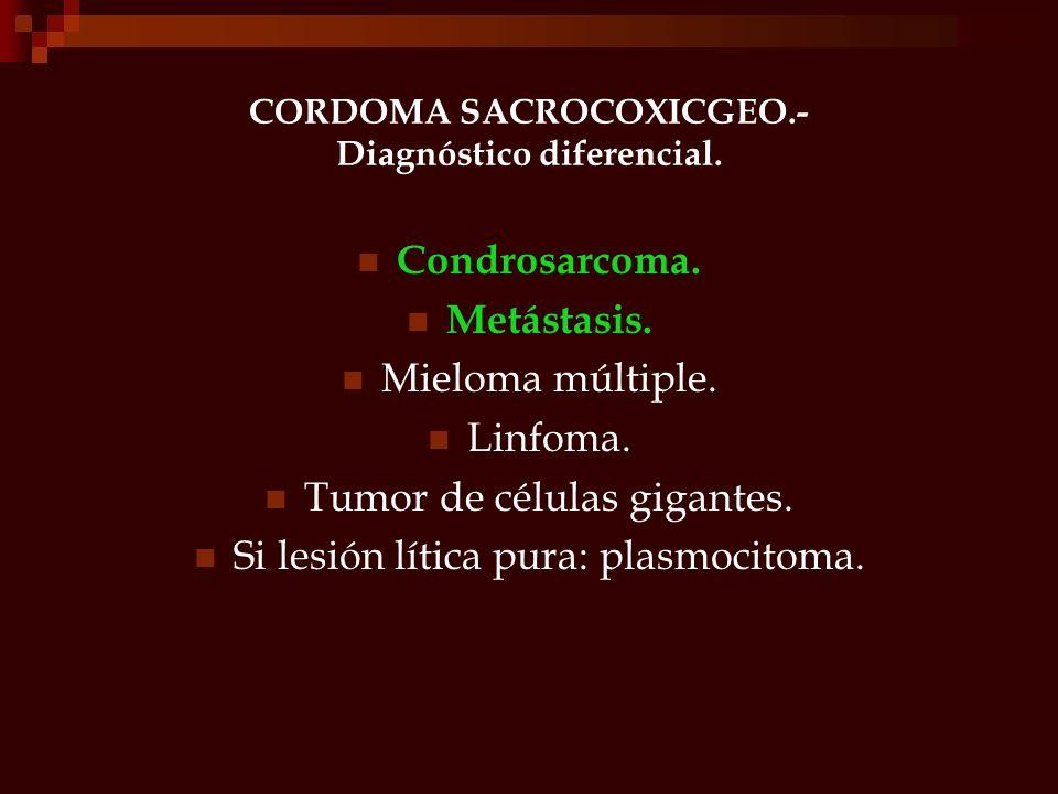 CORDOMA SACROCOXICGEO.- Diagnóstico diferencial. Condrosarcoma. Metástasis. Mieloma múltiple. Linfoma. Tumor de células gigantes. Si lesión lítica pur