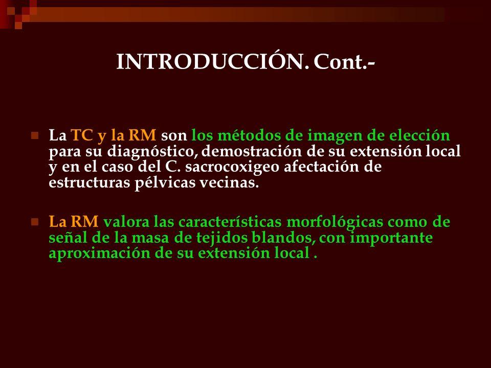 INTRODUCCIÓN. Cont.- La TC y la RM son los métodos de imagen de elección para su diagnóstico, demostración de su extensión local y en el caso del C. s