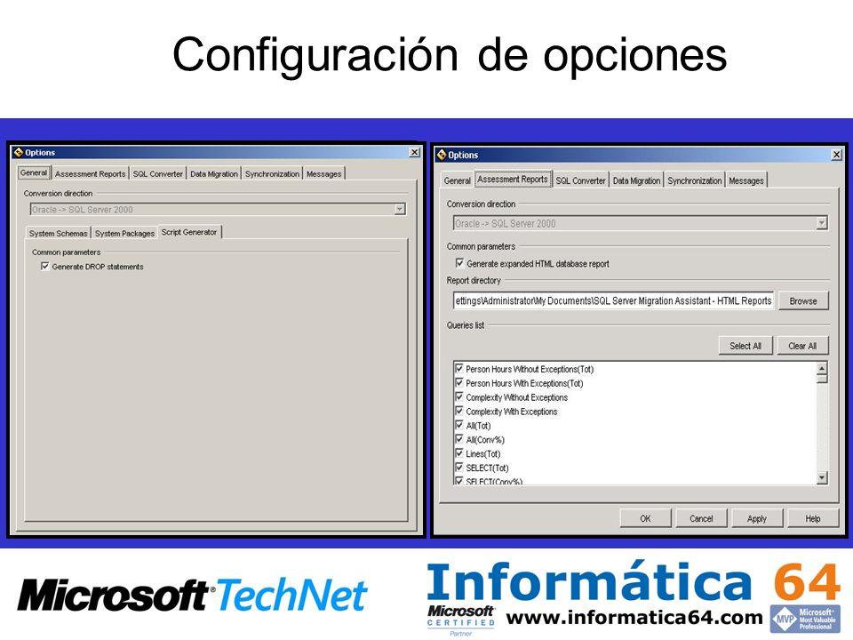 Configuración de opciones
