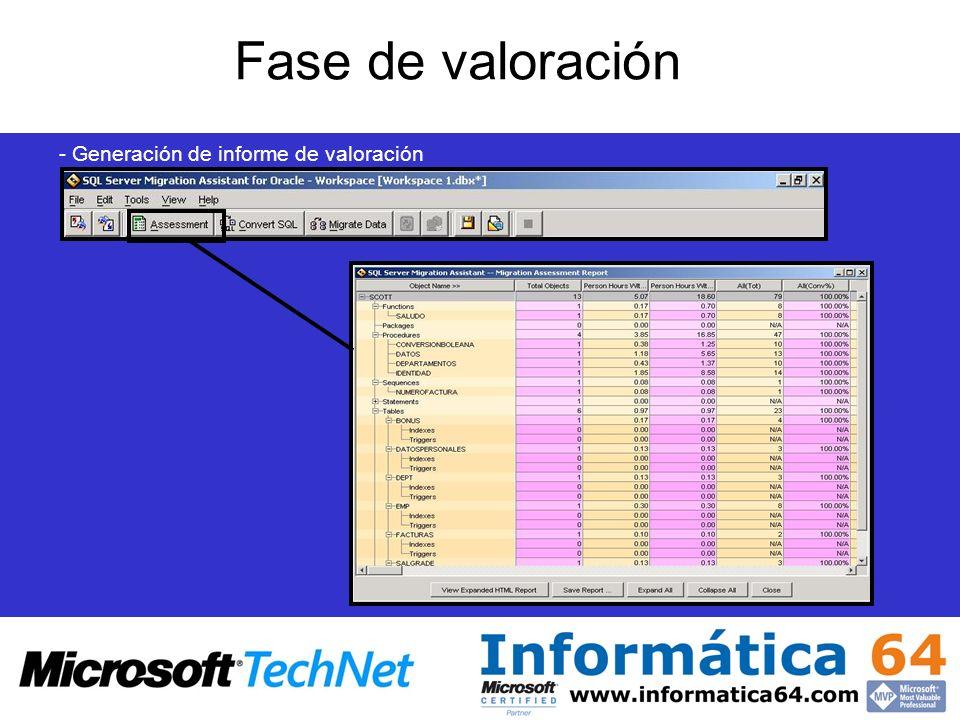 - Generación de informe de valoración Fase de valoración
