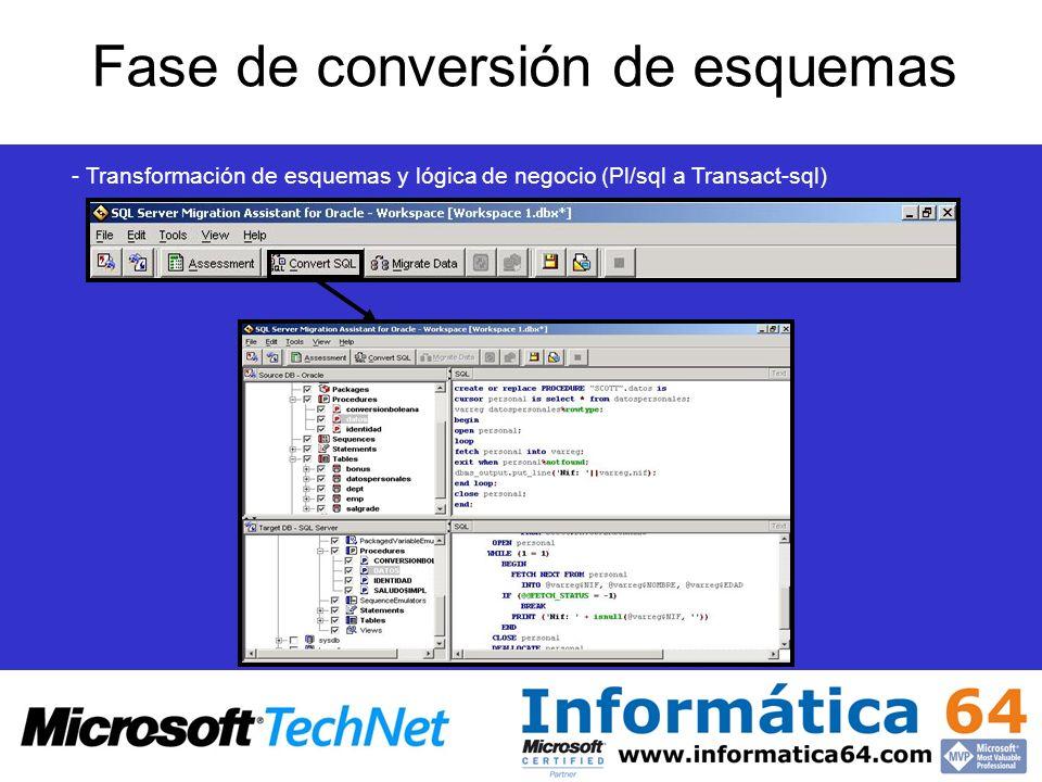 Fase de conversión de esquemas - Transformación de esquemas y lógica de negocio (Pl/sql a Transact-sql)