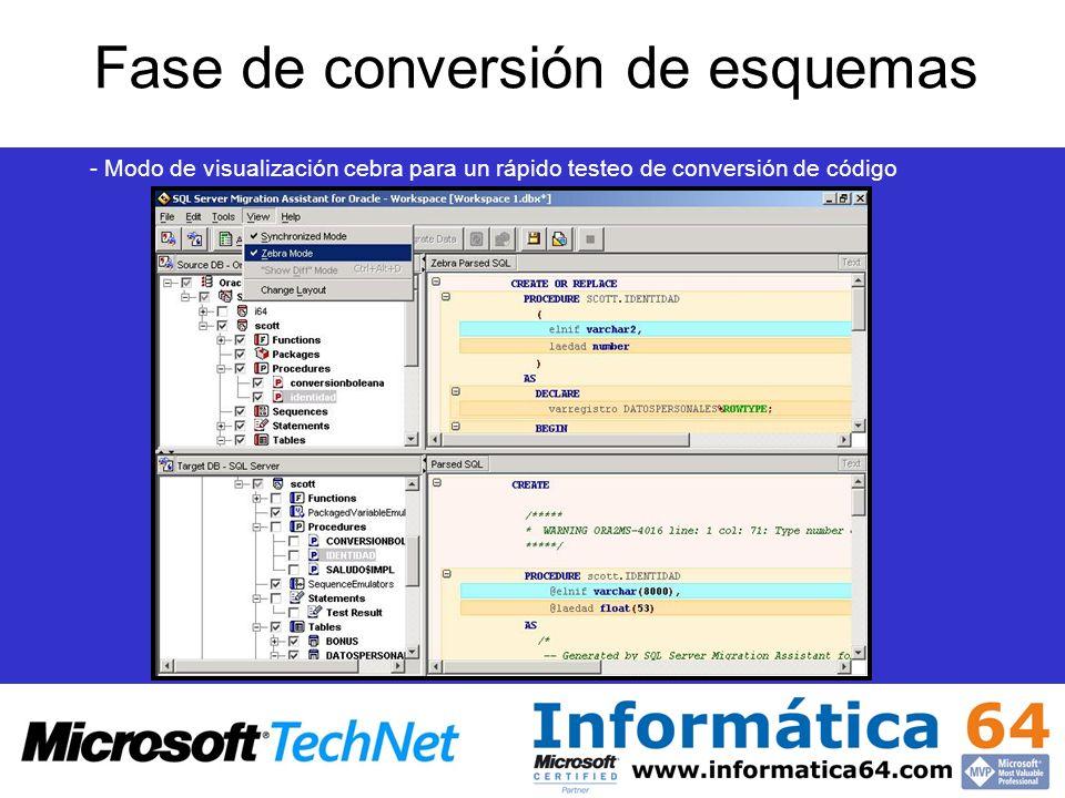 Fase de conversión de esquemas - Modo de visualización cebra para un rápido testeo de conversión de código