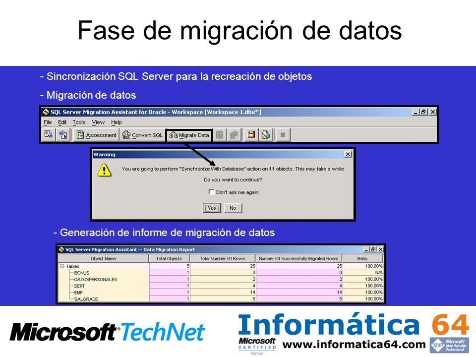 Fase de migración de datos - Sincronización SQL Server para la recreación de objetos - Migración de datos - Generación de informe de migración de dato