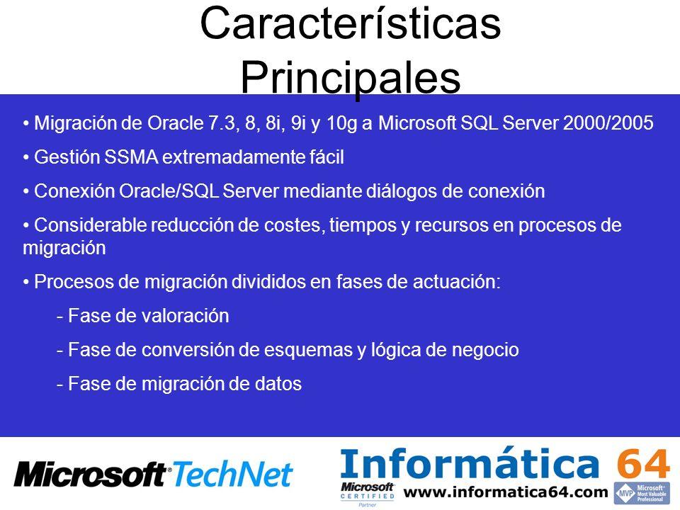Características Principales Migración de Oracle 7.3, 8, 8i, 9i y 10g a Microsoft SQL Server 2000/2005 Gestión SSMA extremadamente fácil Conexión Oracl