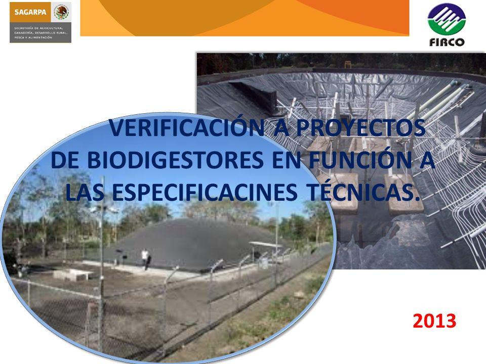 VERIFICACIÓN A PROYECTOS DE BIODIGESTORES EN FUNCIÓN A LAS ESPECIFICACINES TÉCNICAS. 2013