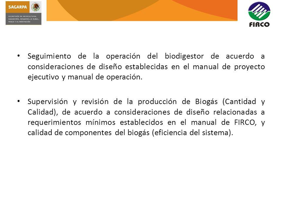 Seguimiento de la operación del biodigestor de acuerdo a consideraciones de diseño establecidas en el manual de proyecto ejecutivo y manual de operaci