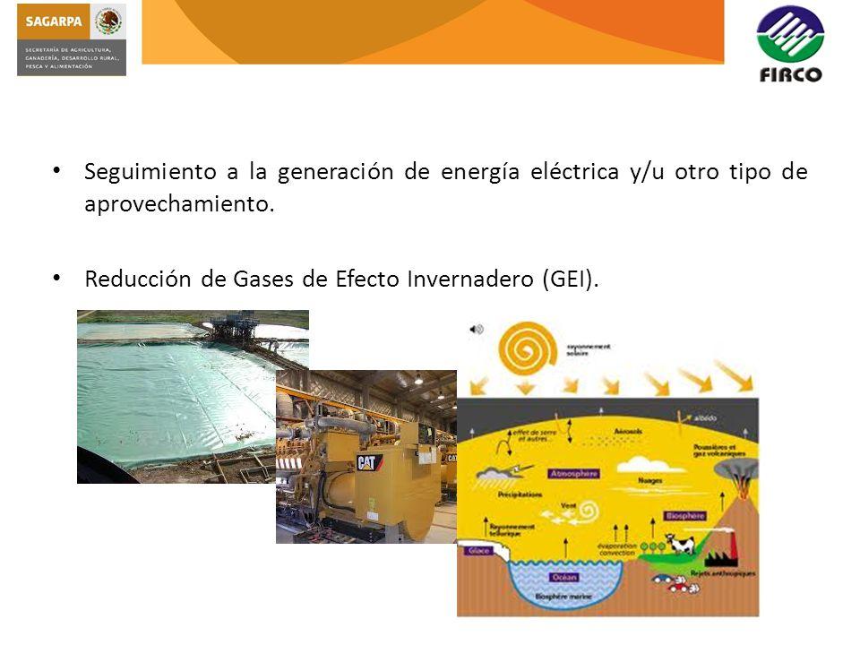 Seguimiento a la generación de energía eléctrica y/u otro tipo de aprovechamiento. Reducción de Gases de Efecto Invernadero (GEI).