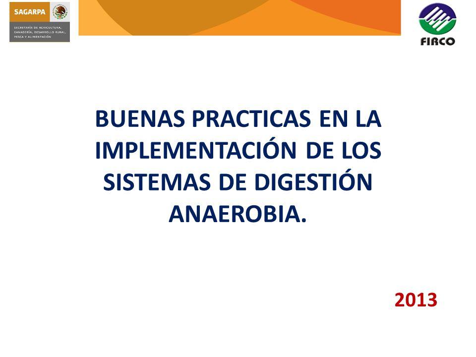 BUENAS PRACTICAS EN LA IMPLEMENTACIÓN DE LOS SISTEMAS DE DIGESTIÓN ANAEROBIA. 2013