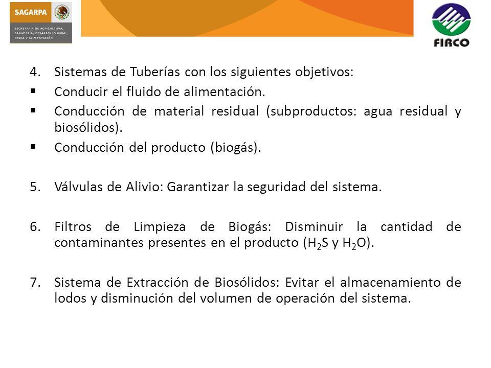 4.Sistemas de Tuberías con los siguientes objetivos: Conducir el fluido de alimentación. Conducción de material residual (subproductos: agua residual