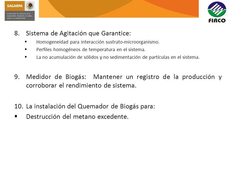 8.Sistema de Agitación que Garantice: Homogeneidad para interacción sustrato-microorganismo. Perfiles homogéneos de temperatura en el sistema. La no a