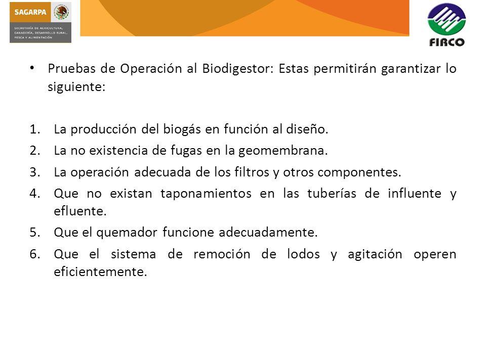 Pruebas de Operación al Biodigestor: Estas permitirán garantizar lo siguiente: 1.La producción del biogás en función al diseño. 2.La no existencia de