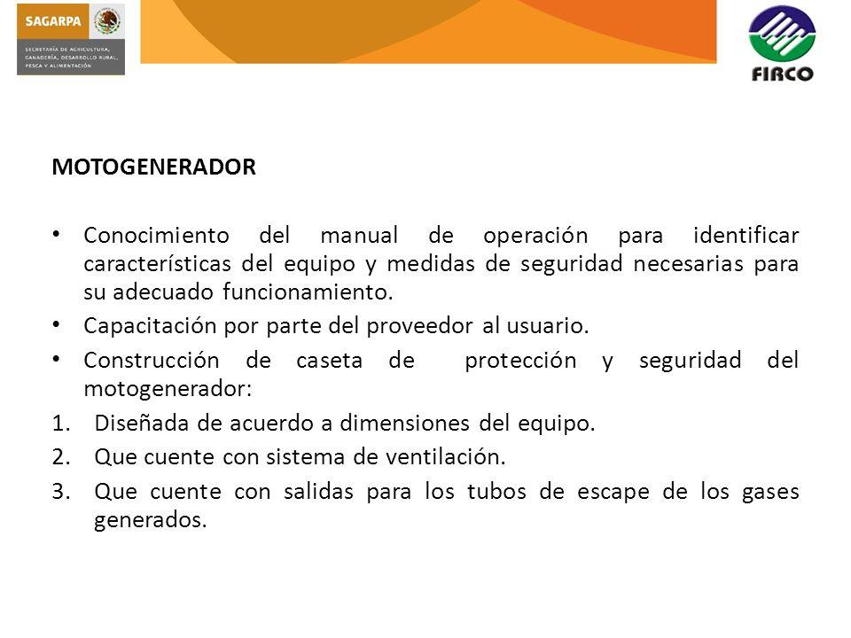 MOTOGENERADOR Conocimiento del manual de operación para identificar características del equipo y medidas de seguridad necesarias para su adecuado func