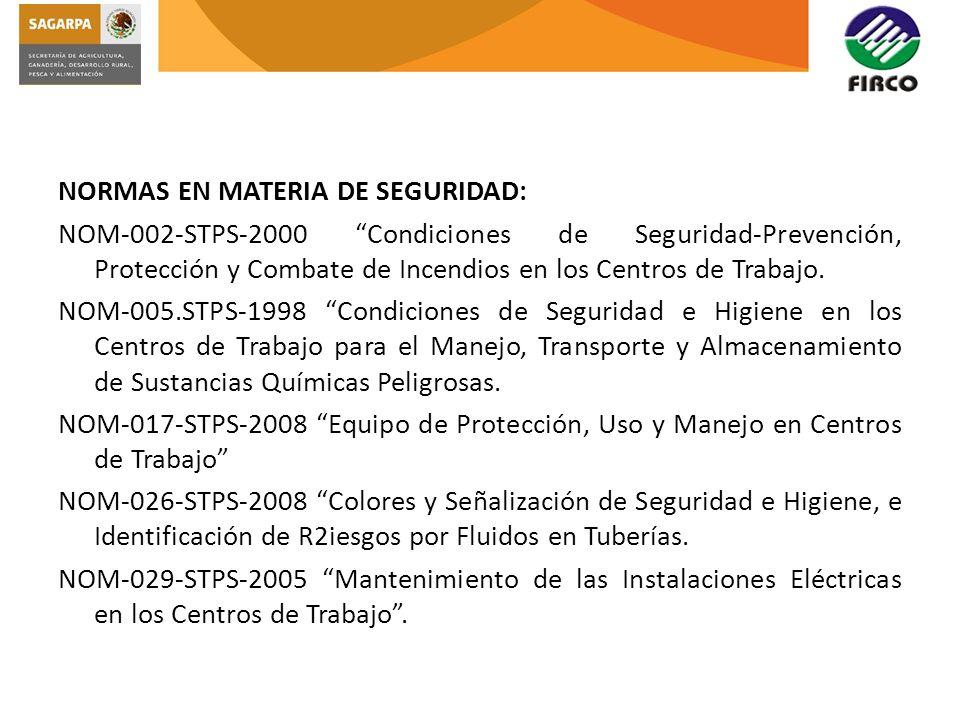NORMAS EN MATERIA DE SEGURIDAD: NOM-002-STPS-2000 Condiciones de Seguridad-Prevención, Protección y Combate de Incendios en los Centros de Trabajo. NO