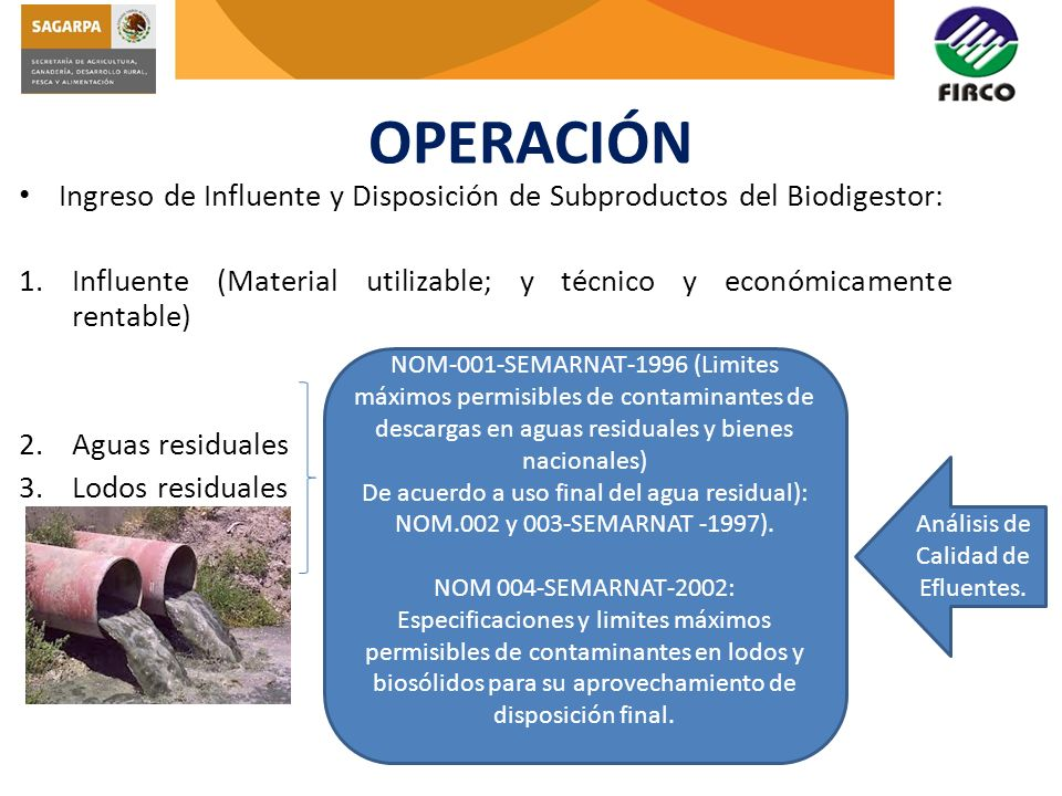 OPERACIÓN Ingreso de Influente y Disposición de Subproductos del Biodigestor: 1.Influente (Material utilizable; y técnico y económicamente rentable) 2
