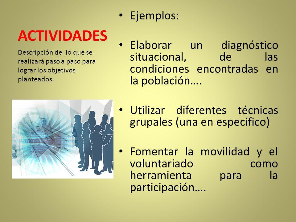 ACTIVIDADES Ejemplos: Elaborar un diagnóstico situacional, de las condiciones encontradas en la población…. Utilizar diferentes técnicas grupales (una