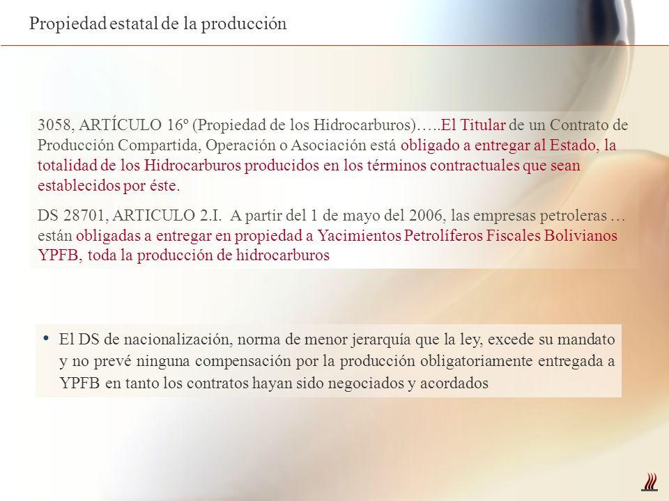 3058, ARTÍCULO 16º (Propiedad de los Hidrocarburos)…..El Titular de un Contrato de Producción Compartida, Operación o Asociación está obligado a entre