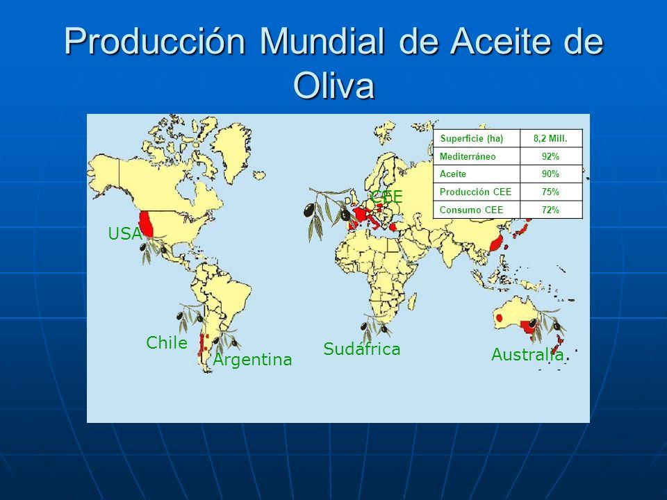 Producción Mundial de Aceite de Oliva Superficie (ha)8,2 Mill. Mediterráneo92% Aceite90% Producción CEE75% Consumo CEE72% Australia Sudáfrica CEE Arge