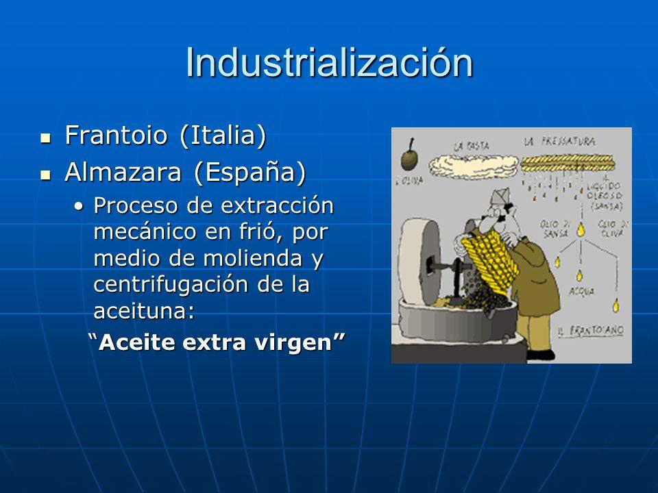 Industrialización Frantoio (Italia) Frantoio (Italia) Almazara (España) Almazara (España) Proceso de extracción mecánico en frió, por medio de moliend
