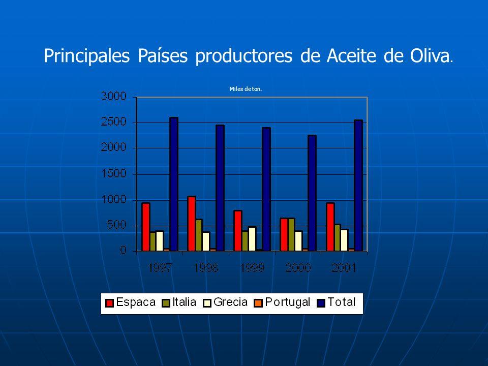 Producción Mundial de Aceite de Oliva (miles de toneladas) Producción93/9494/9595/9696/9797/9898/9999/200 0 %Promedio CEE (*)1.242,51.3041.3341.8002.1621.680,51.786,375,1%1.615,6 Túnez Marruecos Turquía Argelia 235 40 50 21 100 50 160 14 60 35 40 23 270 110 200 46 80 70 40 18 150 65 200 23 200 40 180 50 7,3% 2,7% 5,8% 1,3% 156 58,5 124 27,8 TOTAL CUENCA MEDITERRÁNEO Argentina Otros países 1.588,5 8 110 1.628 9,5 166 1.492 8 137,5 2.426 11,5 198 2.370 12 121,5 2.118,5 12 177 2.256,3 7 193,5 92,2% 0,4% 7,4% 1.983,9 9.7 157.6 TOTAL MUNDIAL1.7151.803,51.637,52.635,52.503,52.307,52.456,8100%2.151,2 Fuente: Fernández, 1999 y FAO.