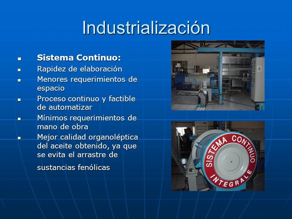 Industrialización Sistema Continuo: Sistema Continuo: Rapidez de elaboración Rapidez de elaboración Menores requerimientos de espacio Menores requerim