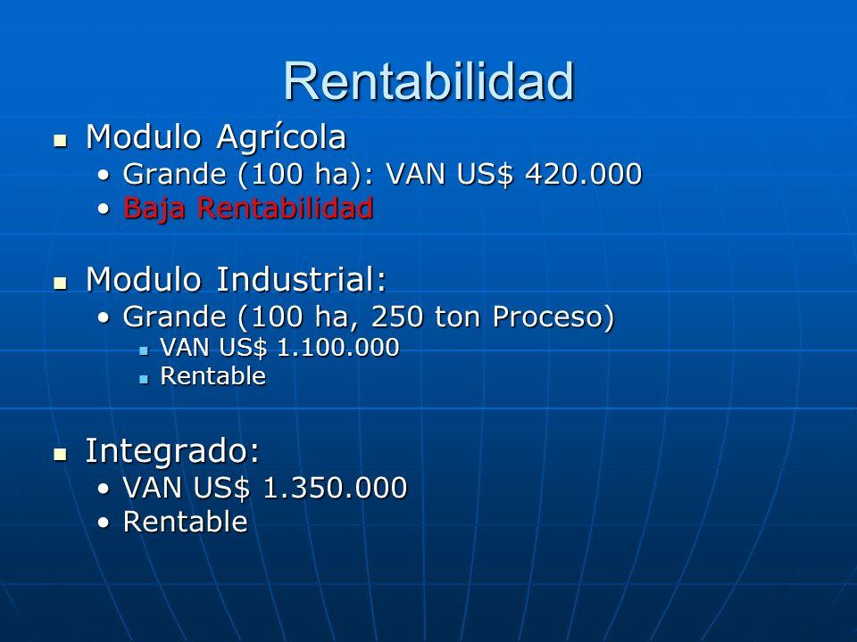 Rentabilidad Modulo Agrícola Modulo Agrícola Grande (100 ha): VAN US$ 420.000Grande (100 ha): VAN US$ 420.000 Baja RentabilidadBaja Rentabilidad Modul