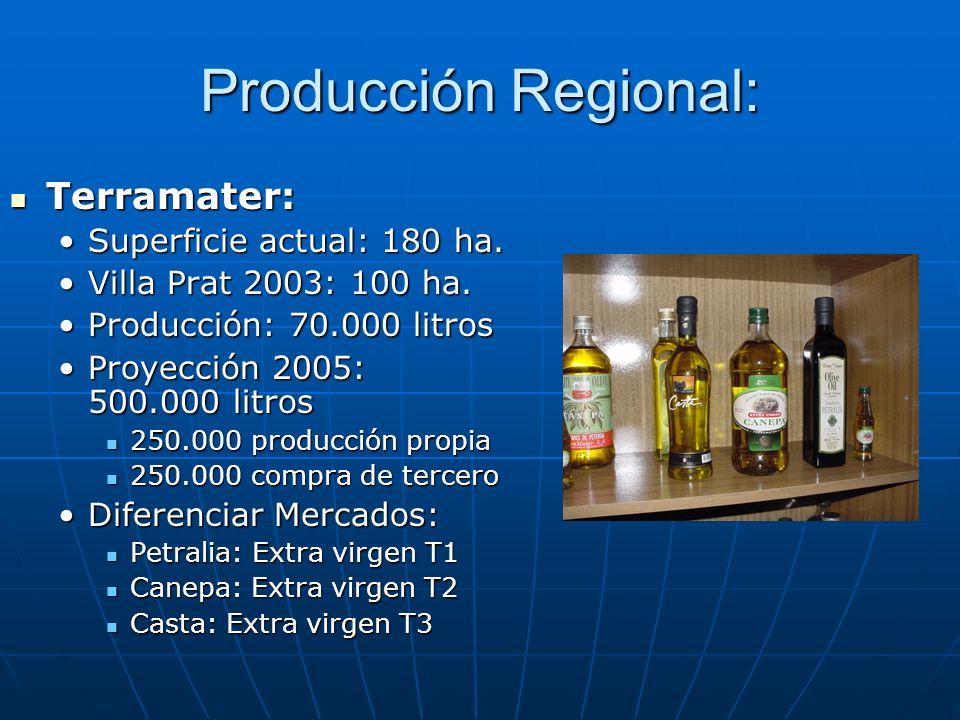 Producción Regional: Terramater: Terramater: Superficie actual: 180 ha.Superficie actual: 180 ha. Villa Prat 2003: 100 ha.Villa Prat 2003: 100 ha. Pro