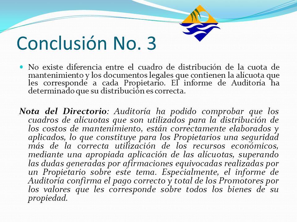 Conclusión No. 3 No existe diferencia entre el cuadro de distribución de la cuota de mantenimiento y los documentos legales que contienen la alícuota
