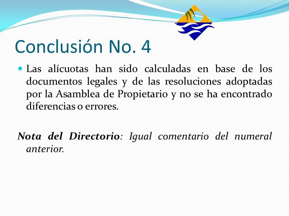 Conclusión No. 4 Las alícuotas han sido calculadas en base de los documentos legales y de las resoluciones adoptadas por la Asamblea de Propietario y