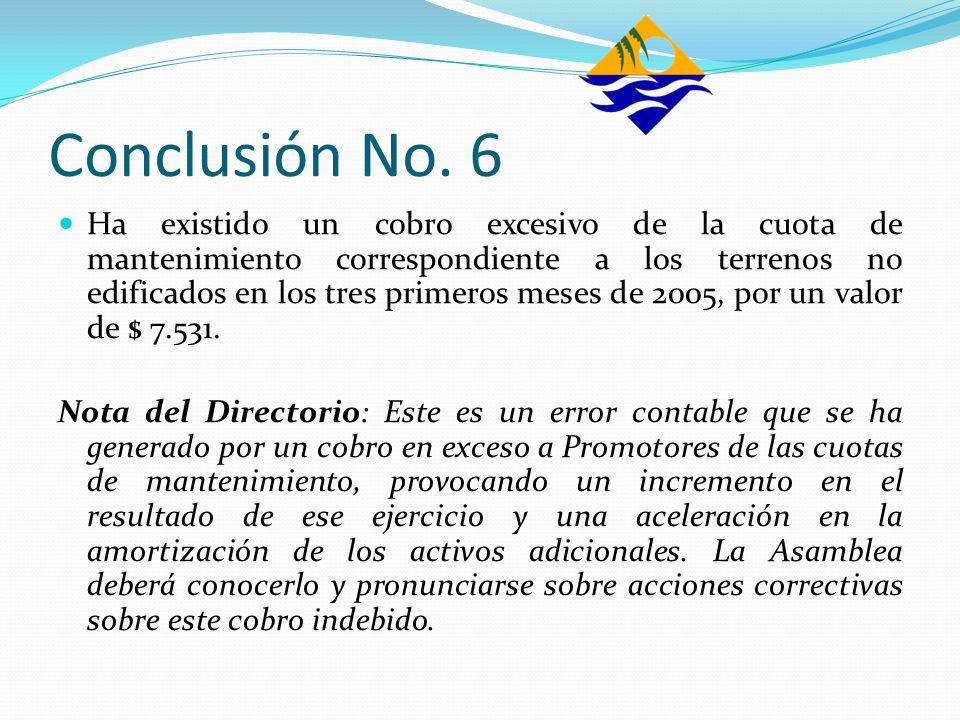 Conclusión No. 6 Ha existido un cobro excesivo de la cuota de mantenimiento correspondiente a los terrenos no edificados en los tres primeros meses de