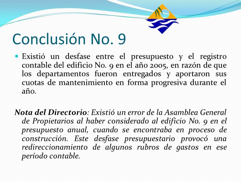 Conclusión No. 9 Existió un desfase entre el presupuesto y el registro contable del edificio No. 9 en el año 2005, en razón de que los departamentos f