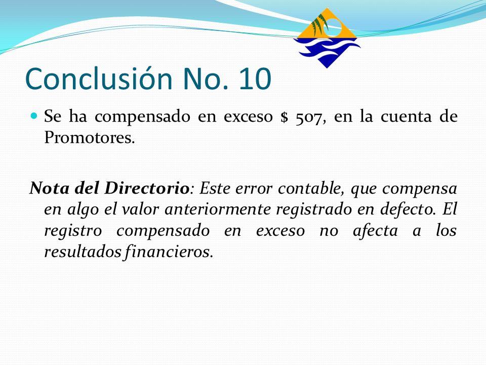 Conclusión No. 10 Se ha compensado en exceso $ 507, en la cuenta de Promotores. Nota del Directorio: Este error contable, que compensa en algo el valo