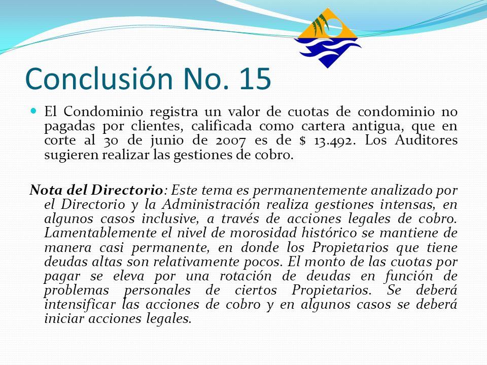 Conclusión No. 15 El Condominio registra un valor de cuotas de condominio no pagadas por clientes, calificada como cartera antigua, que en corte al 30