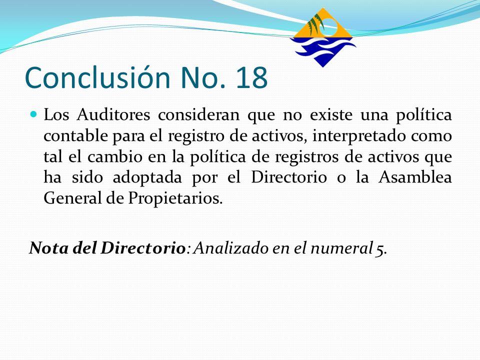 Conclusión No. 18 Los Auditores consideran que no existe una política contable para el registro de activos, interpretado como tal el cambio en la polí