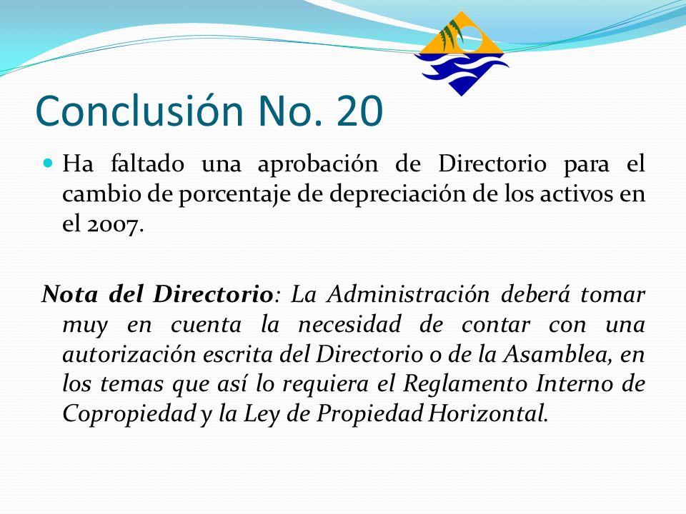 Conclusión No. 20 Ha faltado una aprobación de Directorio para el cambio de porcentaje de depreciación de los activos en el 2007. Nota del Directorio: