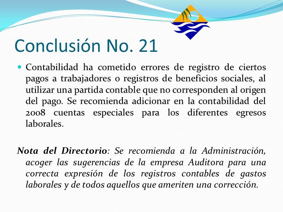 Conclusión No. 21 Contabilidad ha cometido errores de registro de ciertos pagos a trabajadores o registros de beneficios sociales, al utilizar una par