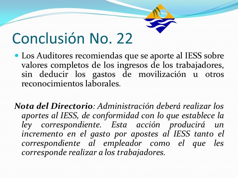 Conclusión No. 22 Los Auditores recomiendas que se aporte al IESS sobre valores completos de los ingresos de los trabajadores, sin deducir los gastos